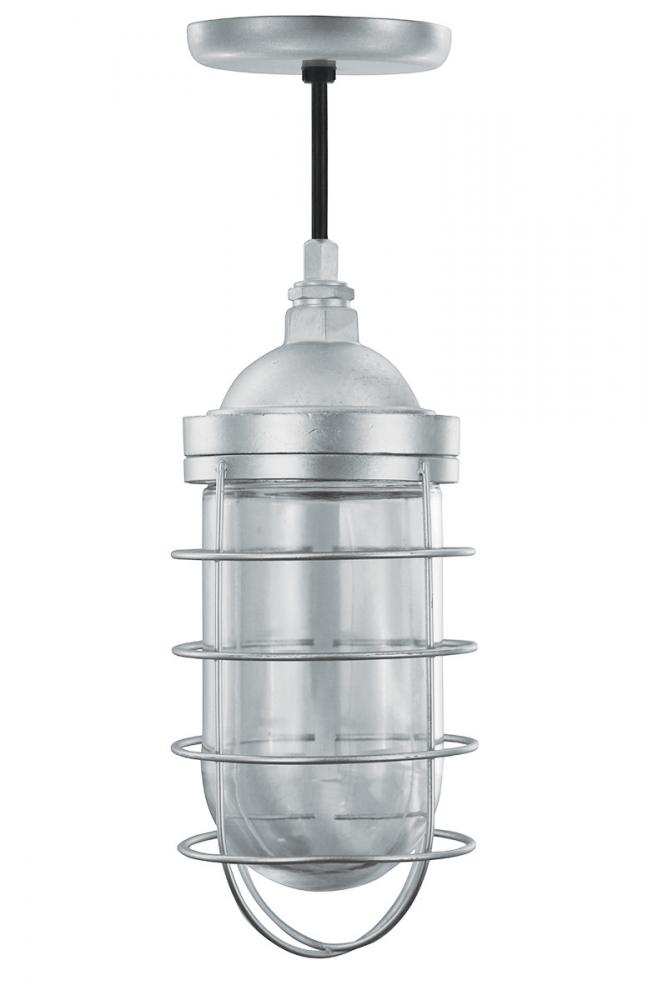 Vapor Tight Pendant with clear glass and wire guard hung on an 8 ...