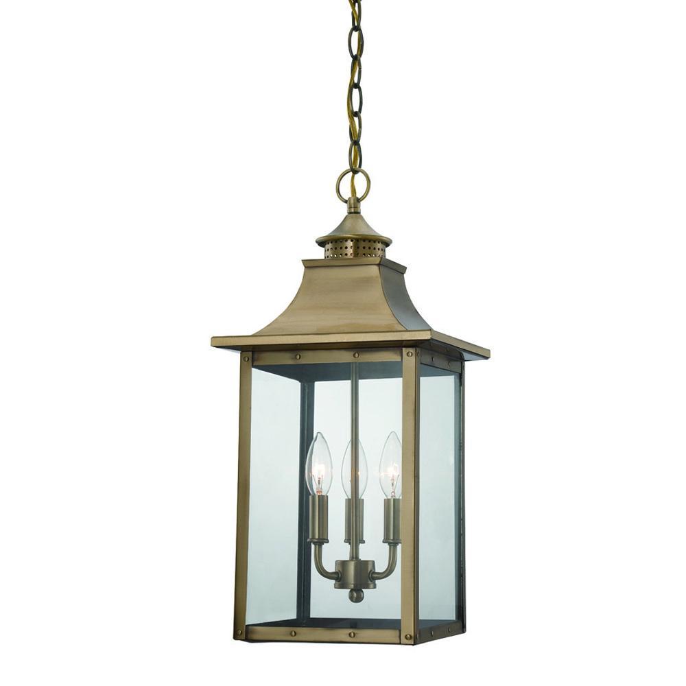 St charles collection hanging lantern 3 light outdoor aged brass st charles collection hanging lantern 3 light outdoor aged brass light fixture workwithnaturefo