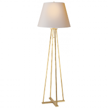 Visual Comfort TOB 1155GI-NP - Hannah Floor Lamp in Gilded Iron with Natural Pa