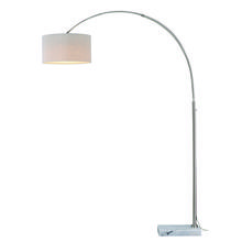Vaxcel International L0002 - Luna Instalux® LED Arc Lamp Satin Nickel with Brown Linen Shade