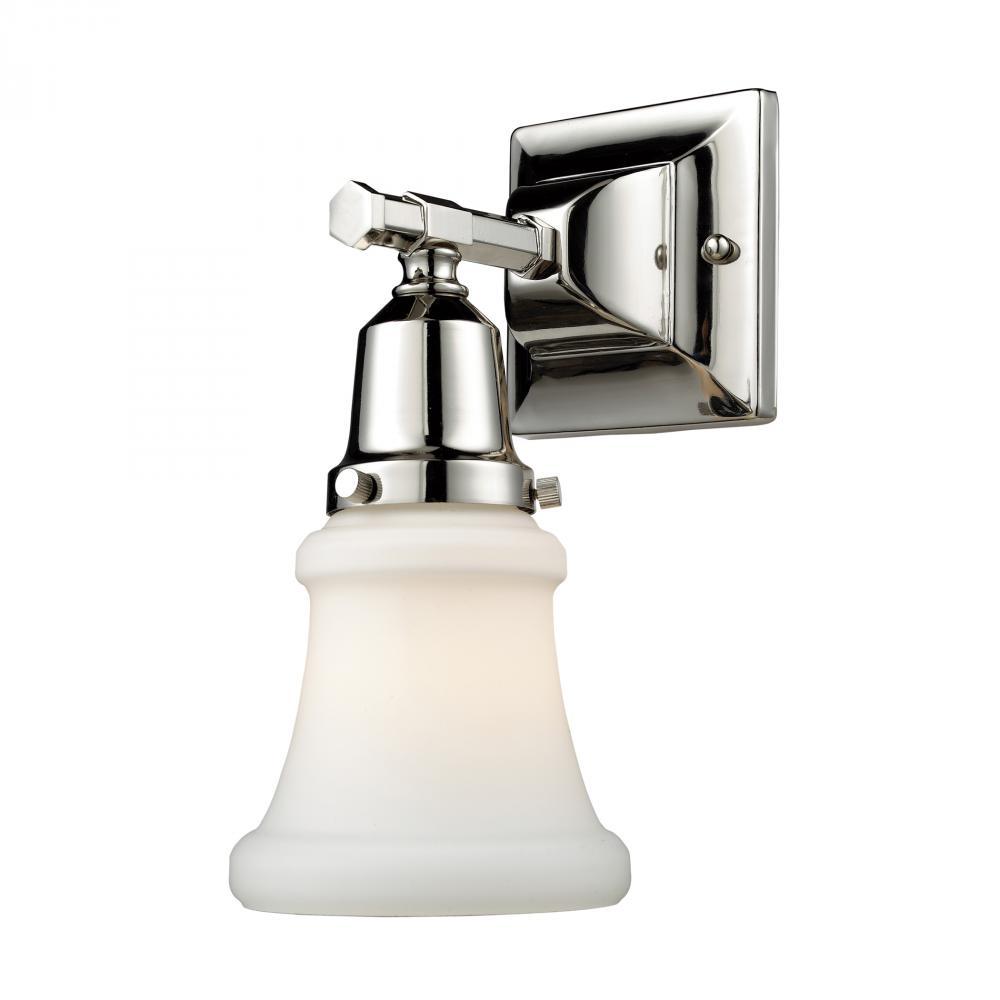 Bathroom Sconces Polished Nickel one light polished nickel bathroom sconce : ndgh | j. britt